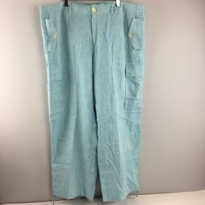 Lauren Ralph Lauren Linen Pants 16 Lined Blue Wide